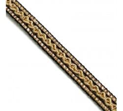 Braid Ethnic braid - Black, beige and golden - 10 mm babachic