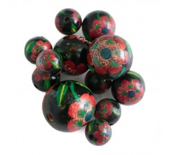 Flowers Wooden beads - Peltée - Black and red Babachic by Moodywood
