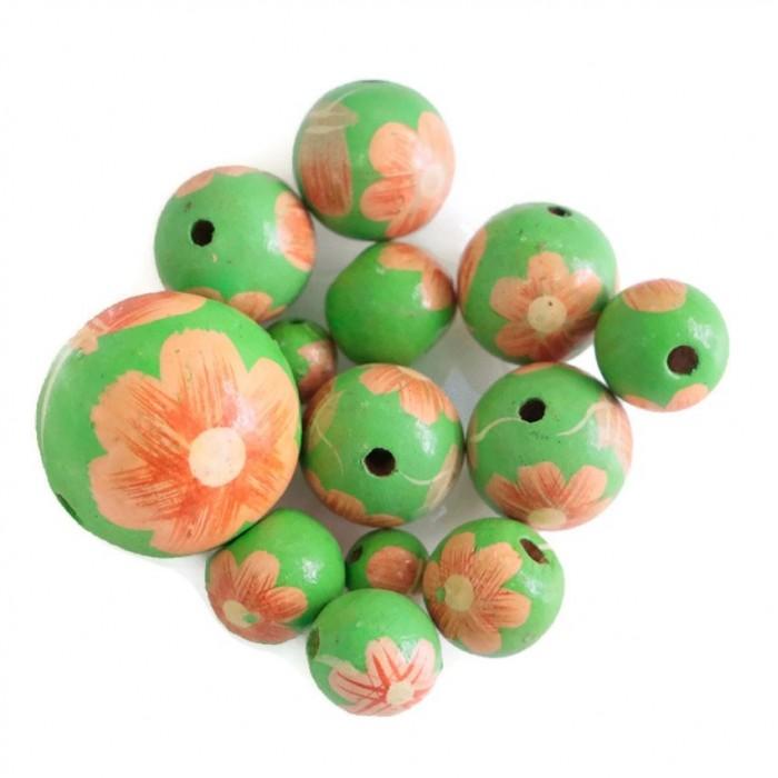 Perle en bois - Ballerina - Rose et vert