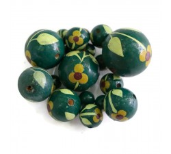 Flowers Wooden beads - Trille - Dark green Babachic by Moodywood