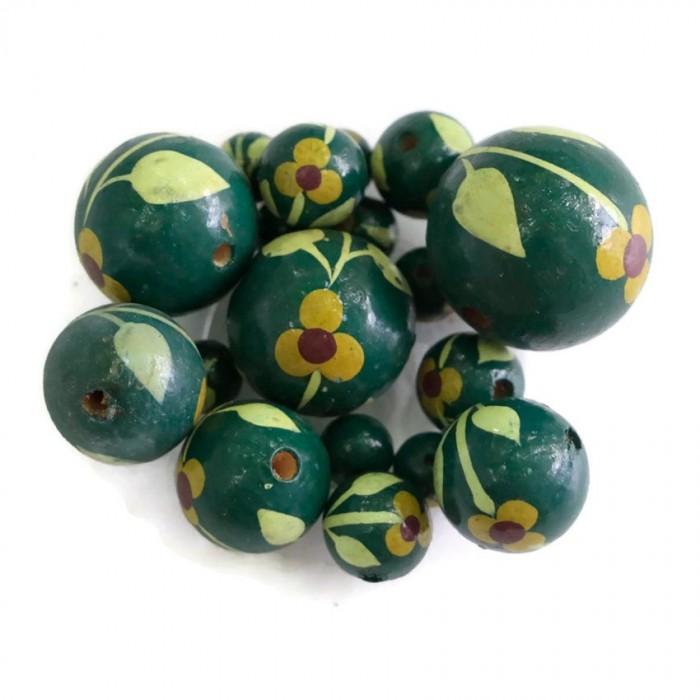 Perle en bois -  Trille - Vert bouteille
