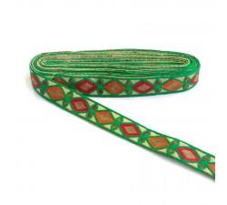 Bordado Broderie Indienne - Losanges - Vert, rouge, jaune et marron - 30 mm babachic