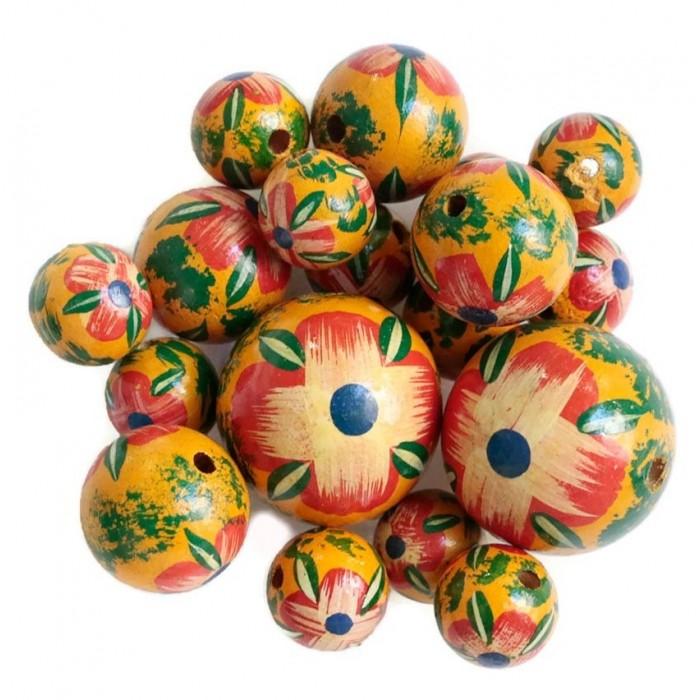 Perle en bois - Hibiscus - Rouge, jaune et vert
