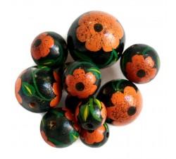 Perles en bois Perle en bois - Hibiscus - Noire et orange