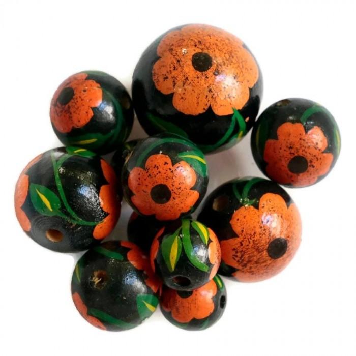 Perle en bois - Hibiscus - Noire et orange