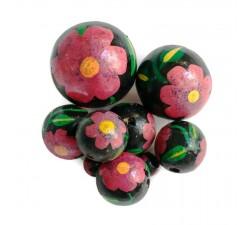 Perles en bois Perle en bois - Hibiscus - Noire et rose