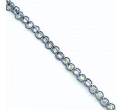 Galónes Galón Indio - Diamantes - Azul y plateado - 6 mm