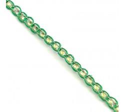Braid Indian braid - Diamonds - Green and silver - 6 mm