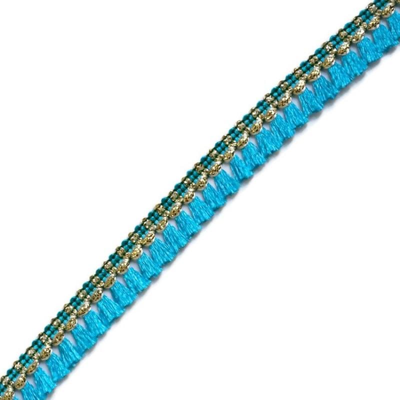 Cinta de flecos - Azul claro y dorado - 15 mm