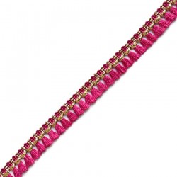 Fringe Tassels ribbon fuchsia and gold - 15 mm