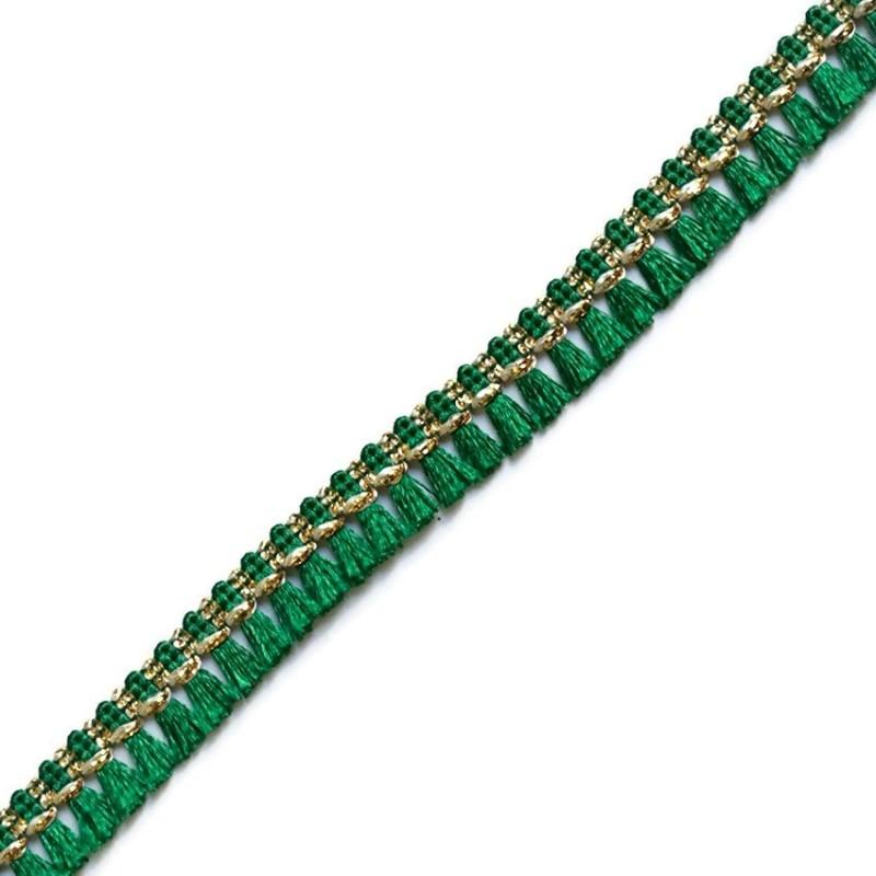 Cinta de flecos verde y dorado - 15 mm