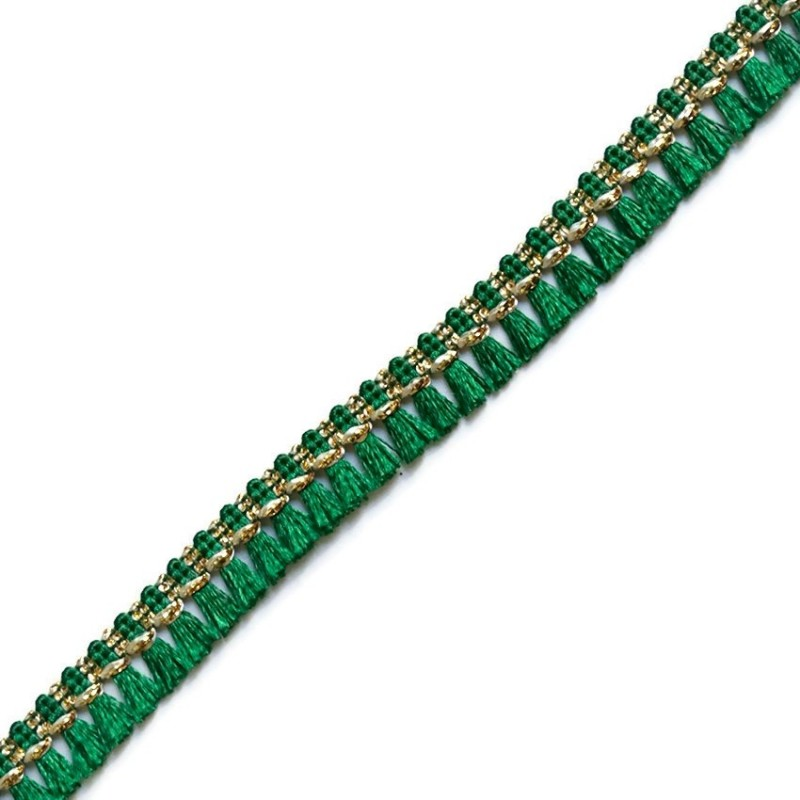 Tassels ribbon green and golden - 15 mm
