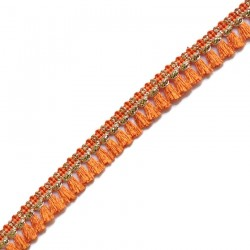 Fringe Tassels ribbon orange and golden - 15 mm