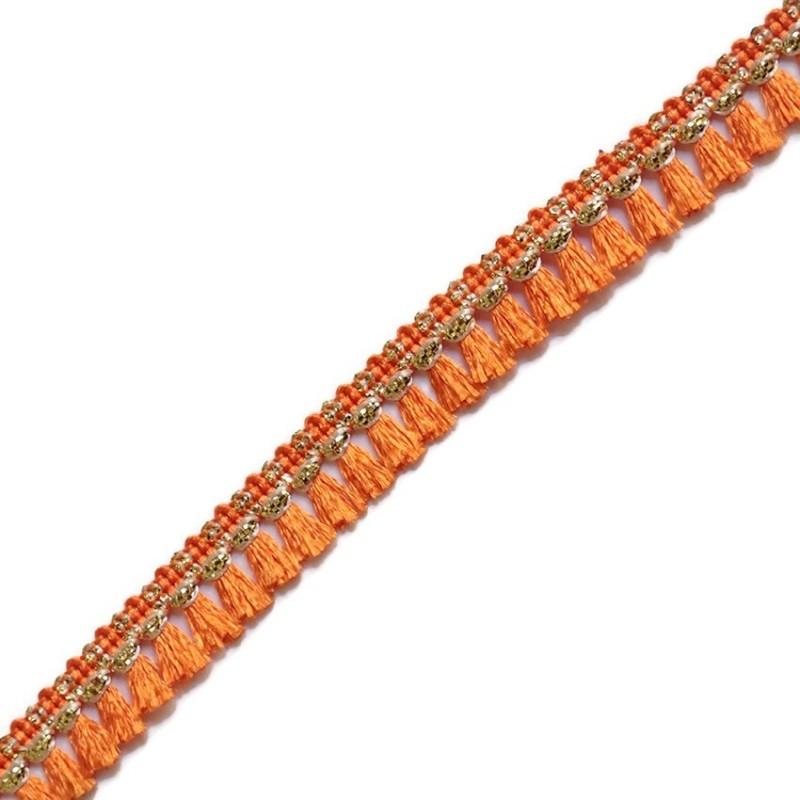 Galon de pampilles orange et doré - 15 mm