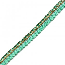 Fringe Tassels ribbon sea green and golden - 15 mm