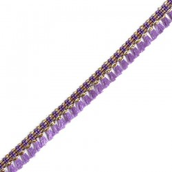 Fringe Tassels ribbon purple and golden - 15 mm