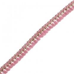 Cinta de flecos rosa y dorado - 15 mm