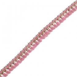 Franges Galon de pampilles rose et doré - 15 mm