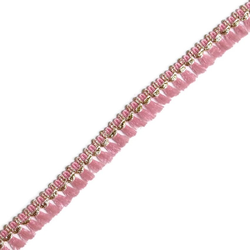 Tassels ribbon pink and golden - 15 mm
