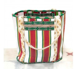 Tote bags Bohemian shopping bag - White and red