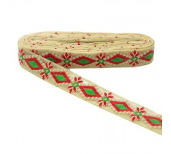 Embroidery Embroidered tul - Red and green - 40mm