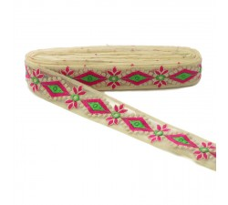 Embroidery Embroidered tul - Pink and green - 40mm babachic