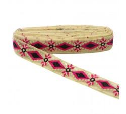 Bordado Tul bordada - Rosa y negro - 40 mm