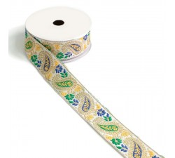 Ribbons Ribbon vintage - Yellow, green and blue - 35 mm