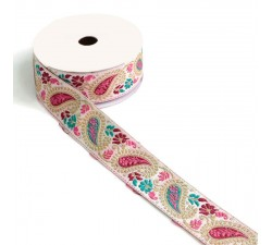 Embroidery Ribbon vintage - Pink and green - 35 mm