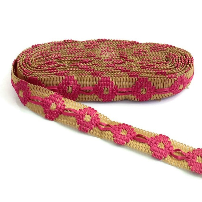 Bordado Cinta de jute decorada de cinta fuscia - 30 mm
