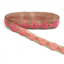 Embroidery Jute embroidered trimming with pink ribbon - 30 mm babachic