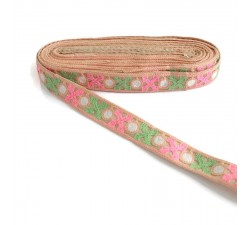 Embroidery Salmon ribbon lined with green and pink crosses - 28 mm babachic