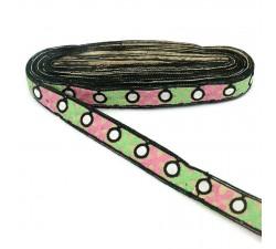 Bordado Cinta negra bordeada de cruces verde y rosa - 28 mm babachic