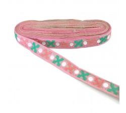 Bordado Cinta rosa bordeada de cruces verde y rosa - 28 mm babachic