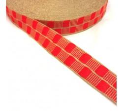 Cintas Cinta fina con cadrados rojo y hilo dorado de lurex - 20 mm