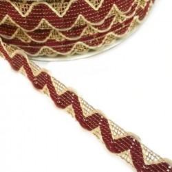 Ric Rac Burundy Rickrack braid style with golden lurex thread - 20 mm