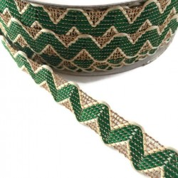 Ric Rac Green Rickrack braid style with golden lurex thread - 20 mm babachic