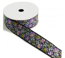 Embroidery Blossom ribbon - Lilac and green with black background - 35 mm