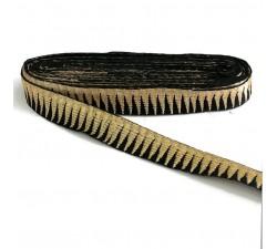 Rubaneries Bordure noire avec des fils dorés en forme de pics - 30 mm