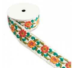 Broderies Bordure Fleurie, fil de soie - Vert et orange - 55 mm