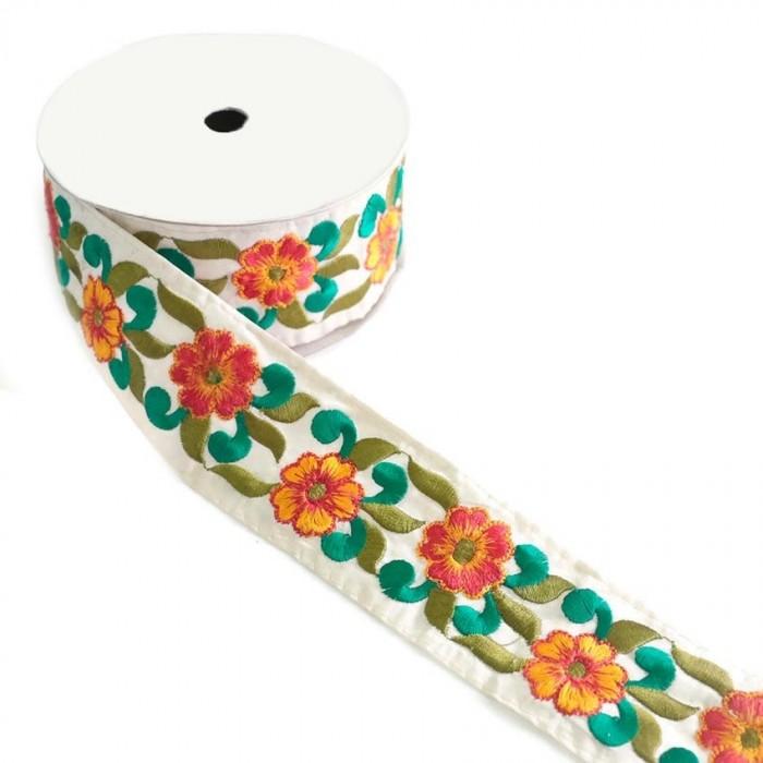 Bordado Floral - Naranja y verde - 55 mm