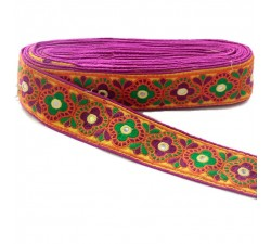 Broderies Bordure décorative Indienne - Magenta, orange et vert - 60 mm