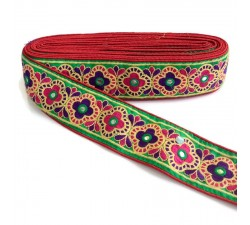 Bordado Cinta decorativa India - Rojo, rosa y verde - 60 mm