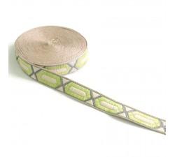 Rubans Galon tissé - Hexagone allongé - Citron vert - 20 mm babachic