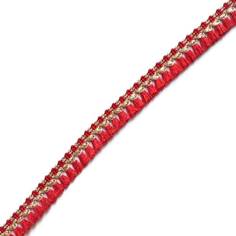 Cinta de flecos rojo y dorado - 15 mm