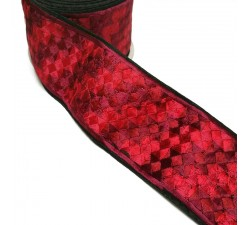 Embroidery Red embroidered ribbon - Pixel - 65 mm