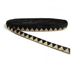 Galons Galon noir et fil de lurex doré en forme de triangle - 15 mm