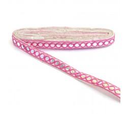 Braid Mirrors braid - Pink and white - 18 mm