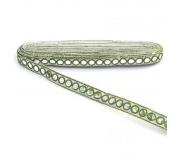 Braid Mirrors braid - Khaki and white - 18 mm