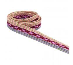 Braid Braided flat braid - Purple and burgundy - 30 mm